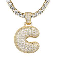 details about custom bubble letter c initial pendant 925 silver gold finish 4mm chain included