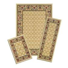 capri multicolored golden lattice 5 ft x 7 ft 3 piece rug set