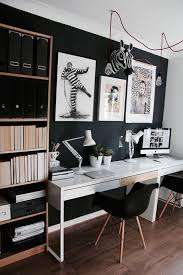 Home office wall decor Corner Scandinavian Home Office With Black Wall Shelving Unit And Shared White Interior Decorating And Home Design Idas Picture Of Scandinavian Home Office With Black Wall Shelving