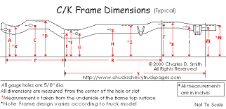 Chevy Truck Dimensions Chart Chevy Truck Frame Dimensions And Specs Chucks Chevy Truck