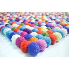 multicolored bright color custom felt ball rug