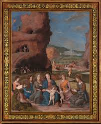 andrea mantegna the virgin and child with infant saint john the baptist and six female saints about 1497 1500