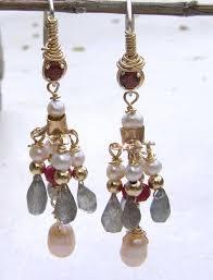 royal chandelier earrings with garnet and pearl 1