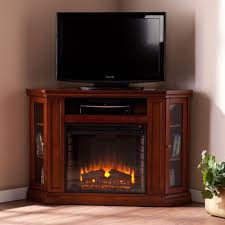 convertible media electric fireplace tv stand in brown mahogany
