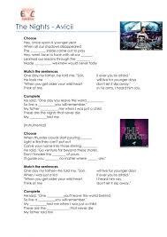 The Nights by Avicii worksheet