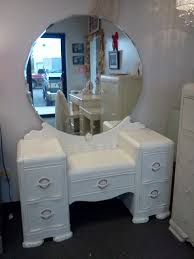 antique painted distressed vanity with mirror and bench shabby chic
