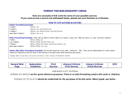 Format For Working Bibliography Cards