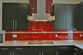 Kitchen:Shiny And Glossy Glass Backsplash Idea For Clean Kitchen Interior  Look Mesmerizing Red Glass