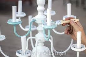 mason jar chandelier by musings 3 painting a brass spray white spray paint chandelier