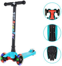 Razor Scooter Light Up Wheels Replacement Kick Scooters For Kids Lean To Steer 3 Wheel Scooter With Adjustable Height Extra Wide Deck Pu Led Flashing Light Up Wheels For Children Boys Girls
