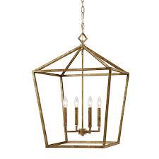 kenwood vintage gold four light lantern pendant