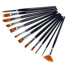 12 pcs nylon hair wooden handles paint brush set artist watercolor acrylic oil painting supplies happy
