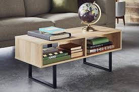 closetmaid 1311 rectangular wood coffee table with storage shelves natural