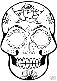 Small Picture Coloring Pages Printable Sugar Skulls Skull Coloring Page Best