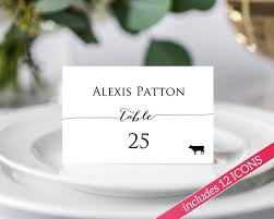 Place Card Template Classy Place Card Template Place Cards With Meal Choice Place Cards Etsy