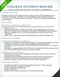 Internship Resume Sample For College Students College Student Resume