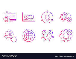 Globe Gears And Idea Icons Set Graph Chart