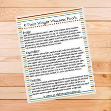 weight watchers zero point foods list free printable