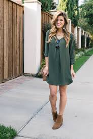 How To Wear Ankle Boots Booties Everything You Need To Know Olive Green Dress Outfit