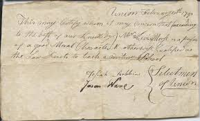 Heirlooms Reunited: 1791 Document re: Levi Morse, signed by Selectmen  Josiah Robbins & Jason Ware of Union, Maine