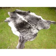 speckled black and white cowhide rug