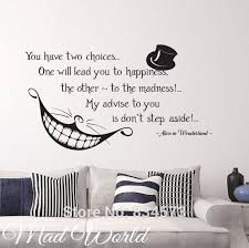 Alice In Wonderland Quote Interesting Mad World Alice In Wonderland Smile Quote Wall Art Stickers Decal