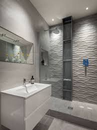 the wavy pattern of these shower tiles give the bathroom a serene feel and resembles the look of a rippling river or stream