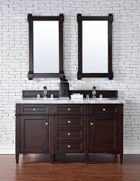 Contemporary Bath Vanity Cabinets Contemporary 60 Inch Double Sink Bathroom Vanity Mahogany Finish
