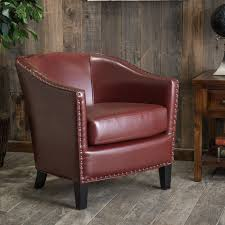 austin oxblood red bonded leather club chair by