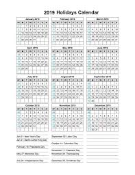 2019 One Page Printable Calendar | 12 Month Calendar in One Pages ...