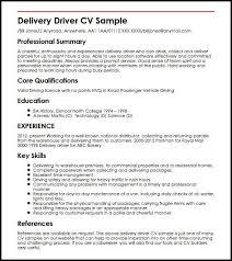 Delivery Driver CV Sample MyperfectCV Mesmerizing Key Skills Resume