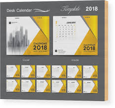 Desk Calendar 2018 Template Design Yellow Cover Set Of 12 Months Business Calendar Idea Wood Print