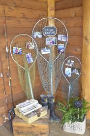 fishing themed wedding. Rustic wedding at fishing lodge Display of fishing pictures from