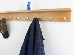Satin Nickel Coat Rack Solid Oak shelf coat racks 1000 to 100 Single style hook choices Made 91