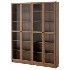 BILLY / OXBERG bookcase, brown, ash veneer glass Width: 63