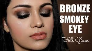 glittery bronze smokey eye makeup tutorial indian skin tone