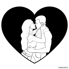Couple In Love Silhouette Icon Sticker Lovers White Man And Woman
