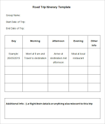 Road Trip Template 4 Sample Road Trip Itinerary Templates Doc Pdf Free