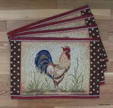 rooster dining table set. rooster placemats kitchen dining table set of 4 tapestry country farm theme d