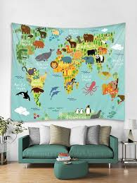 animal world map print tapestry wall hanging art decoration