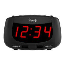 red led dual usb alarm clock