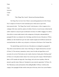 the things they carried by tim o    brien  material and emotional    the things they carried by tim o    brien  material and emotional burdens  essay