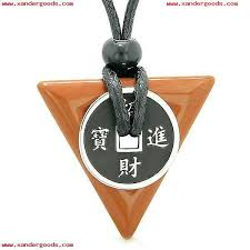 amulet lucky coin charm triangle pyramid powers red jasper spiritual good luck pendant necklace rfu1dml5