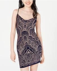 Juniors Glitter Print Bodycon Dress