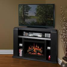 living room with electric fireplace and tv. Black Mahogany Wood Corner TV Stand With Storage Shelves, Awesome Electric Fireplace Living Room And Tv