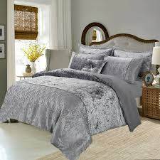 details about crushed velvet duvet cover quilt bedding set 2 pillow shams double king size