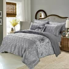 new 3 piece crushed velvet quilt duvet bedding set with 2 pillows