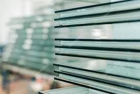 tempered window and door glass cut to size stock photo