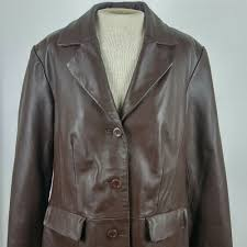 details about terry lewis classic luxuries women sz m leather jacket brown on pockets soft