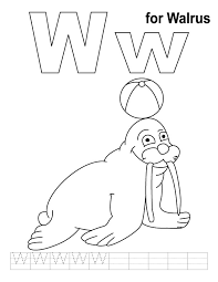 Small Picture W for walrus coloring page with handwriting practice Download